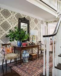 decorate narrow entryway hallway entrance. Transitional Entry With Wallpaper That Adds Classic Pattern To The Room [Design: Burnham Design Decorate Narrow Entryway Hallway Entrance