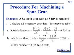 Spur Gear Cutter Selection Chart Gear Cutting Unit Ppt Video Online Download
