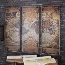 leclerc world map trio artwork on map wall art uk with buy leclerc world map panel artwork rustic wood atlas wall art