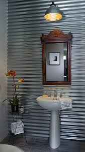 corrugated tin walls powder room industrial with porcelain plank flooring pendant light