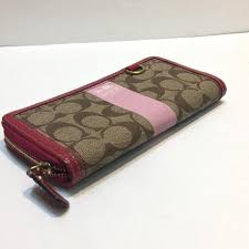 ... Logo Monogram Large Brown Wallets ... coach monogram canvas and leather  long zip wallet with pink two tone coach ...