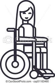 ベクトル ストローク 車椅子 Editable イラスト 不具の 印 背景 アイコン 女の子 線