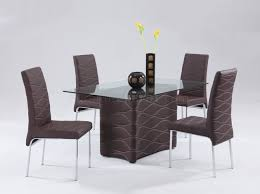 Glass Top Leather Dinette Tables And Chairs Detroit Michigan - Brown dining room chairs
