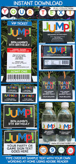jump invitation printable or printed shipping jump trampoline party printables invitations decorations editable birthday party theme templates instant