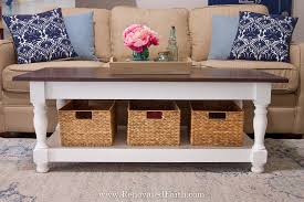 This coffee table idea is perfect for a modern style room or rustic room. Diy Farmhouse Coffee Table With Turned Legs Storage Free Plans