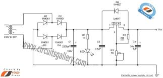 variable dc power supply schematic using lm317 voltage regulator variable dc power supply schematic