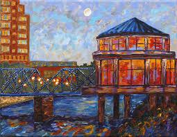 grand rapids blue bridge michigan painting fine art giclee by boneillart on