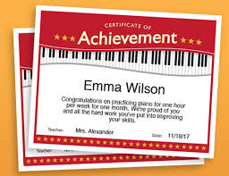 Piano Certificate Template Piano Achievement Certificate Piano Award Printables Child