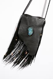 joplin fringe leather purse black