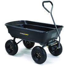 com gorilla carts gor4ps poly garden dump cart with steel frame and 10 in pneumatic tires 600 pound capacity black garden outdoor