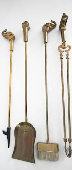vintage set of solid brass elephant fireplace tools 3
