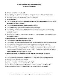a very old man enormous wings g marquez reading worksheet a very old man enormous wings g