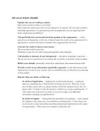 General Cover Letters For Employment General Cover Letter No