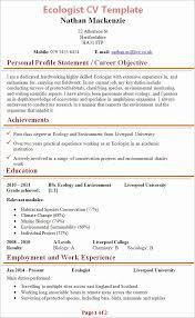 Biology Resume Template Beauteous Biology Resume Template Adorable Ecologist Resume Romeondinez
