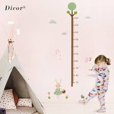 Wall Measuring Chart 2pcs Set Cartoon Height Measure Wall Sticker For Kids Rooms Growth Chart Nursery Room Decor Wall Art Kids Room Stickers Creative
