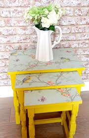 floral decoupage furniture. Upcyled Nest Of Tables In Summer Yellow With Pastel Blue Bird And Floral Flower Paper Side Table Furniture UK Decoupage