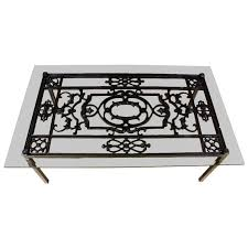 french wrought iron and glass top coffee table for