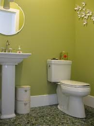 transitional powder room with mixed jade penny tile floor and pedestal sink eclectic powder