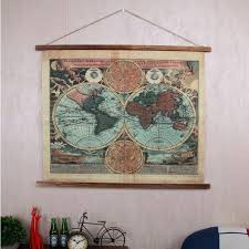 basic world map wall tapestries u3896294 industrial style retro linen cloth tapestry antique treatment world map