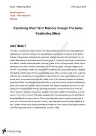 year wace psychology psychology lab report short term memory