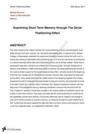 year wace psychology psychology lab report short term memory