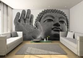 Buddha mural wall contemporary-living-room