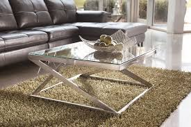 modern glass and silver coffee table