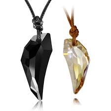 couple necklaces black champagne white copper wolf tooth shaped austrian crystal pendants set with cotton rope matching his and hers jewelry for