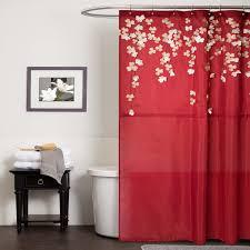 Dark Red Bathroom The Installation Of The Lush Decor Curtains Room Furniture Ideas