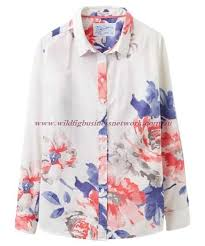 women s joules maywell semi fitted shirt bright white orange rose 18599 long sleeved shirts