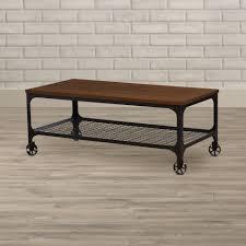 Coffee Table Industrial Corvus Rectangle Industrial Coffee Table Reviews Allmodern