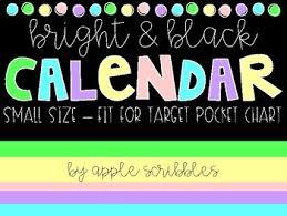Bright Black Calendar Cards Small