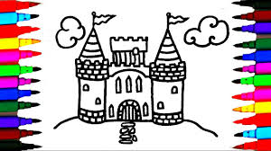 Hello kitty coloring pages of sand castle. How To Draw And Color Castle L Kids Drawing Simple Castle Coloring Pages Videos For Kids Youtube