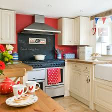 Red country kitchens Red Oven Red And Cream Country Kitchen Red Kitchen Colour Ideas Colour Design Photo Ideal Home Red Kitchen Colour Ideas Home Trends Ideal Home