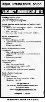 teacher boarding parent assistant receptionist bookkeeper job description