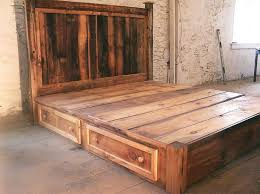 rustic platform beds with storage. Interesting Platform Reclaimed Rustic Pine Platform Bed With Headboard And 4 Drawers On Beds With Storage R