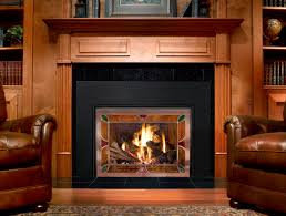 Comely Decorations Using Fireplace Insert Ideas : Chic Design Ideas Using  Rectangular Brown Wooden Shelves Adn ...