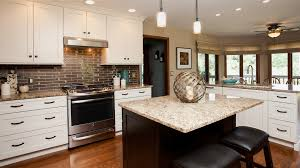 wonderful l shaped kitchen with island. L Shaped White Wooden Kitchen Cabinet And Brown Island Wonderful With
