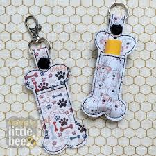 Lip Balm Holder Embroidery Design Bone Lip Balm Holder Snap Tab Eyelet Ribbon Key Fob Set