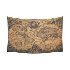 interestprint global map wall art home decor ancient world map cotton linen tapestry wall hanging art sets