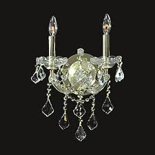 european style 2 lights clear crystal gold finish wall sconce