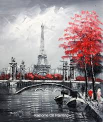 from china art painting styles suppliers famous thick knife oil painting replica wall arts for deco eiffel tower in paris paris street oil canvas