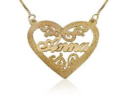 gold plated heart design name necklace