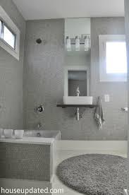 gray penny tile bathroom walls gray and white bathroom tile wood