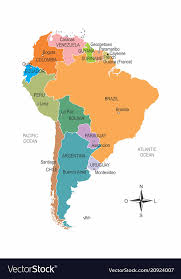 South America Colorful Map