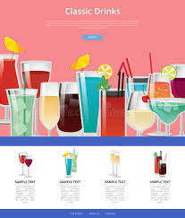 poster samples classic drinks web poster with samples of alcohol stock vector