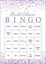 Wedding Bingo Words Bridal Bingo Cards Printable Download Prefilled Bridal Shower Game For Wedding Purple Confetti