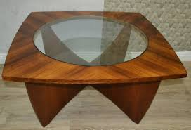 glass solid wood coffee table 1960s