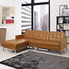 Sofa Tufted Sectional Sofa 3 Piece With Chaise Tan Leather I51