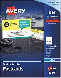 Check spelling or type a new query. Amazon Com Avery 8386 Postcards Inkjet 4 X 6 2 Cards Sheet White Box Of 100 Cards Blank Note Cards Office Products